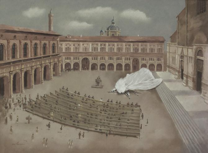 Licitatie de matase in Piazza Magiore